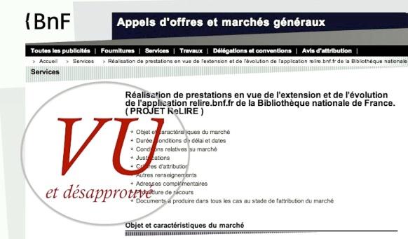 Appel d'offre de la BnF - mai 2013